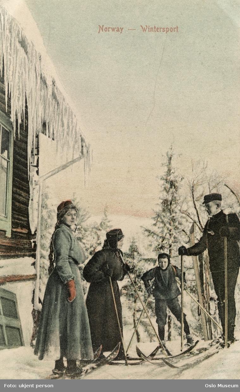 kvinner, mann, gutt, skitur, tømmerhus, istapper, skog, snø