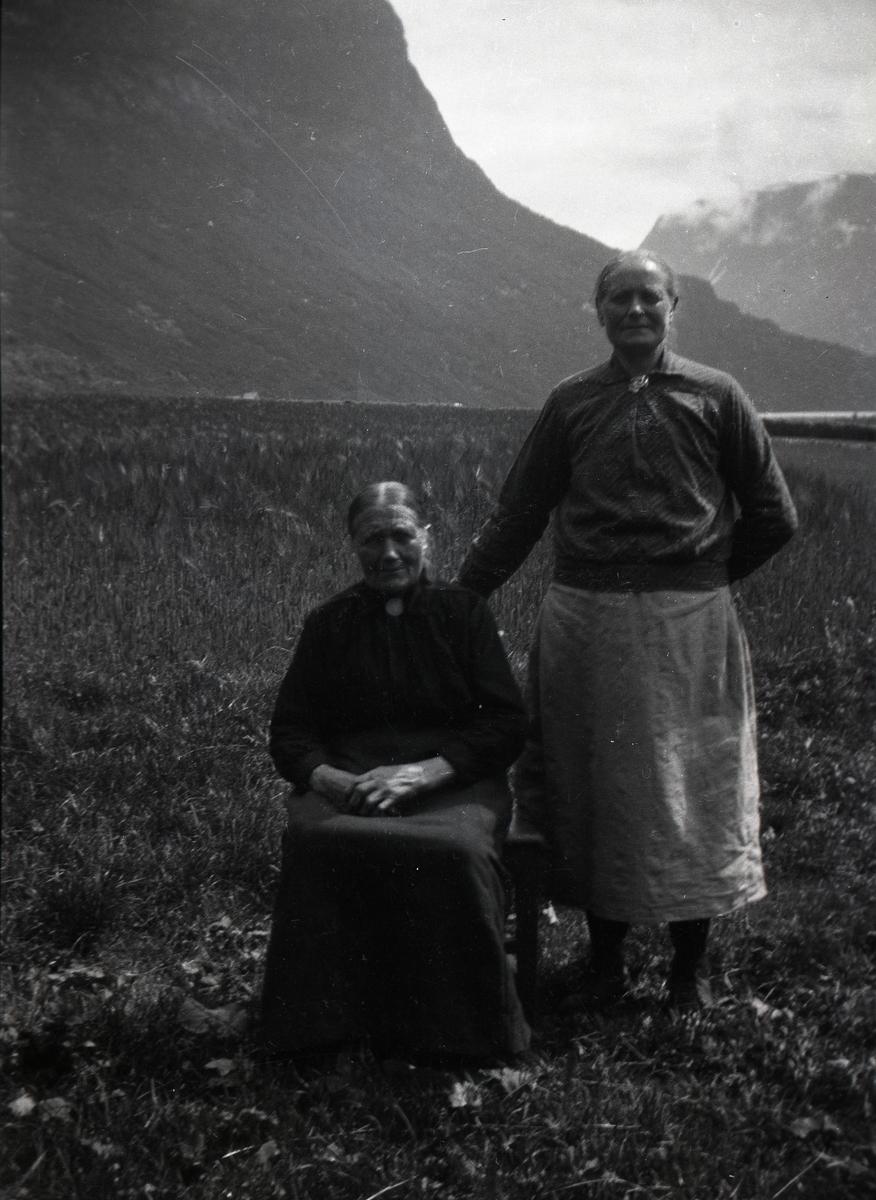 Bildet viser to kvinner, den ene sitter på en stol og den andre står ved siden av. De er avbildet foran en kornåker i nord i Øye i Vang. Den ene kvinna er kledd i en blomstre bluse, med en nål i halsen og hun har et hverdagsforkle på seg. Den andre kvinna har på sen en mørk kjole (skjørt og bluse), også hun har en nål i halsen.