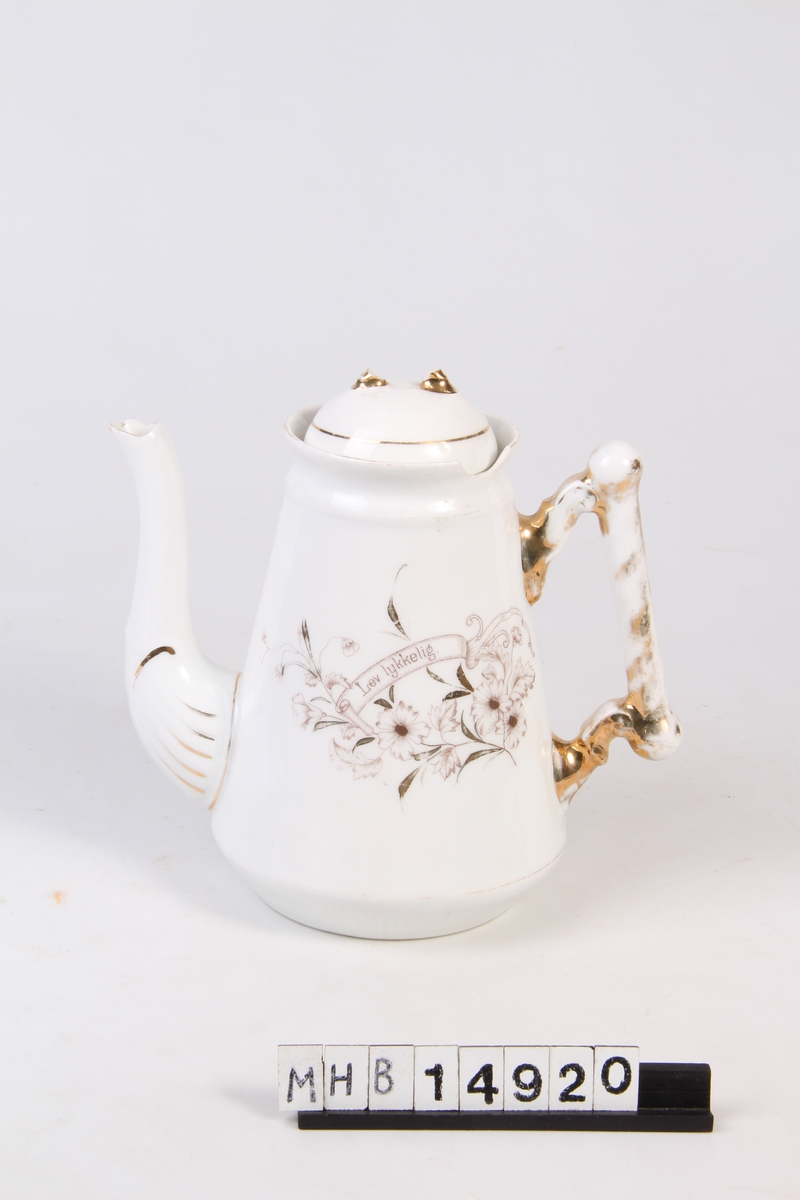 Kaffekanne med lokk og dekor