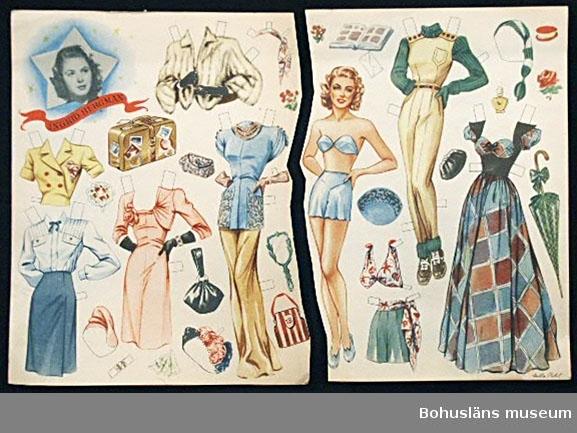 Ark med pappersdocka med tillhörande olika sorters kläder och accessoarer. Den föreställer skådespelerskan Ingrid Bergman (1915 - 1982), svensk skådespelerska, filmdebuterade 1935 och med framgångsrik internationell filmkarriär. Ingenting har klipps ut av arket som dock är delat i två delar. Ulla Pihl var troligen en dansk konstnär/formgivare. Exempel på hennes produktion har hittats på en hemsida på Internet om pappersdockor. Personuppgifter se UM026024