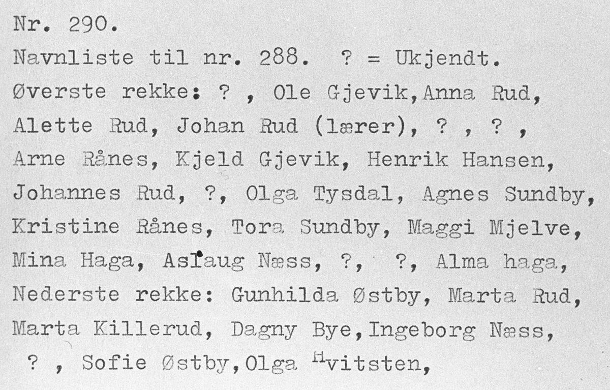Navneliste til skolebilde fra Dalefjerdingen ca 1900 nr. 289.