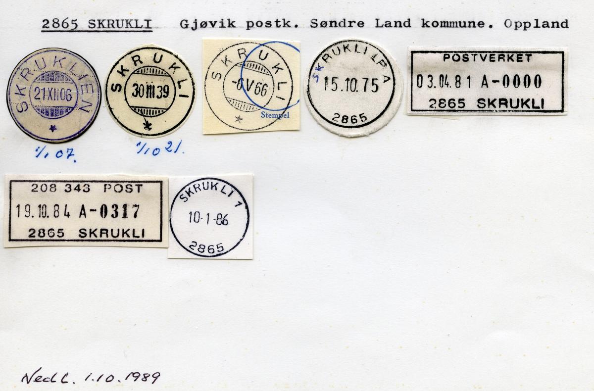 Stempelkatalog 2865 Skrukli, Søndre Land kommune, Oppland