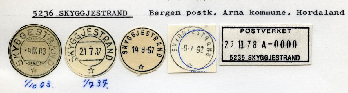 Stempelkatalog  5236 Skyggjestrand, Arna kommune, Hordaland
