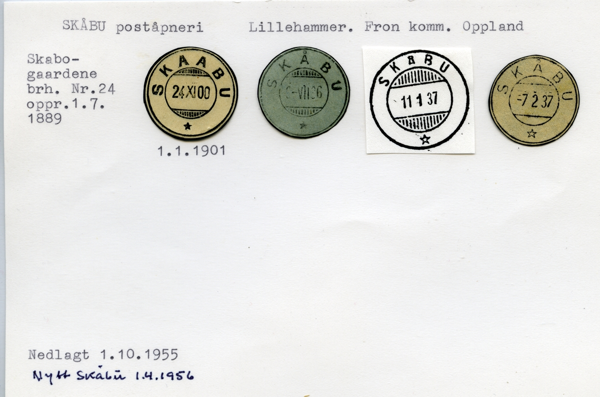 Stempelkatalog 2643 Skåbu, Nord Fron kommune, Oppland (Kampesæter)