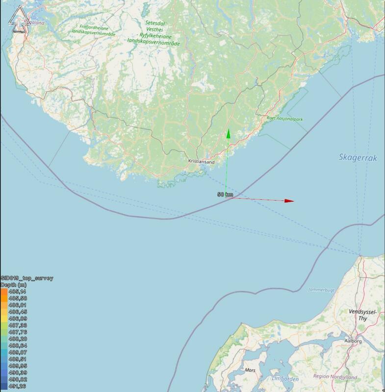 Karlsruhes posisjon markert på kart. Kartet viser det sørlige norge øverst i bildet, Skagerrak i midten og deler av det nordlige Danmark i nedre del. Krysningspunktet mellom en rød og en grønn pil angir funnstedet, like innenfor den norske territorialgrensen. (Foto/Photo)