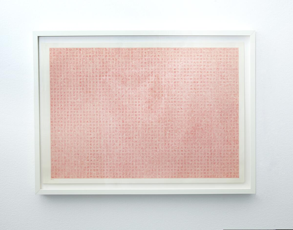 A 2  ( R e d ) Hundre vilkårlige punkt per cm2  Penn: (Sakura) Pigma Micron 05, Archival ink Colour: Red Papir : A2 millimeterpapir Størrelse:A2 (594 x 420 mm) År: 2013 FOTO: Ronny Danielsen (Foto/Photo)