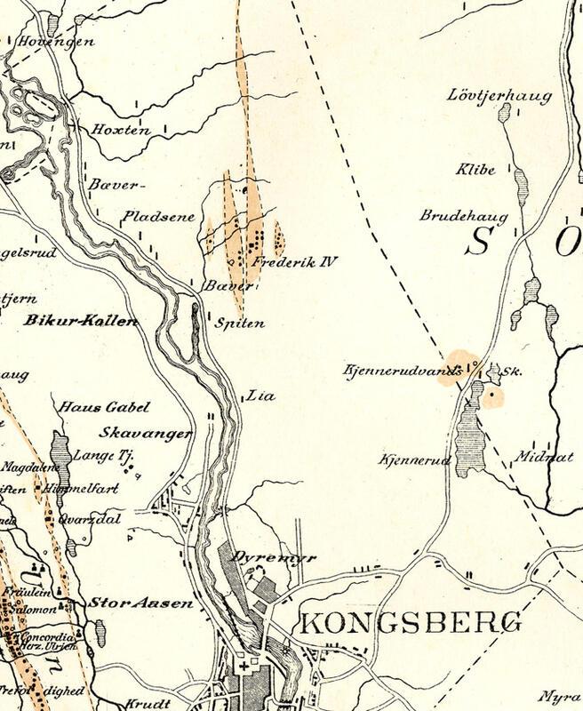 Utsnitt av C. L. Boecks kart fra 1794 over Kongsberg Sølvverks Grubefelt med senere tillegg av G. Munthe (Foto/Photo)