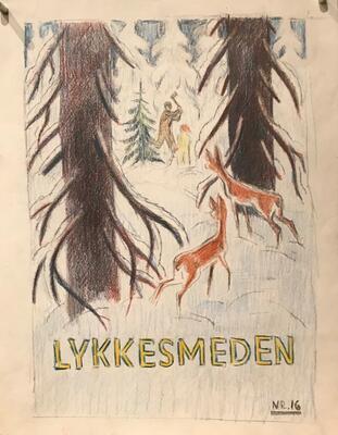 William Lunden, original tegning, Lykkesmeden stor, 21x27cm, kr 2000 Selges på vegne av familien. (Foto/Photo)