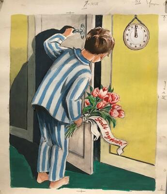 William Lunden, original tegning - Gutt, gode ønsker - 28x32cm, kr 3000 Selges på vegne av familien. (Foto/Photo)