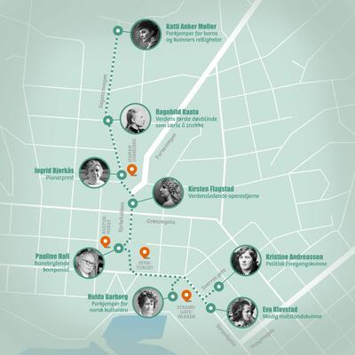 Kart over åtte steder i Hamar sentrum som omtaler viktige historiske kvinner. Foto/Photo