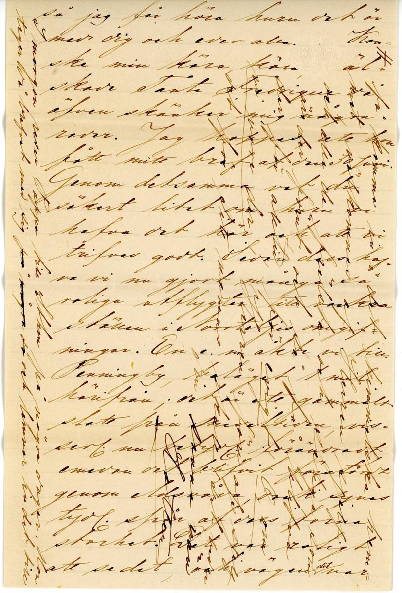 """Brev skrivet den 1874-07-26 av Fredrique Hammarstedt till sin dotter Nini (Ellen)  Hammarstedt. Brevet består av sex sidor text på ett vikt och ett ovikt pappersark. Brevet hittades i ett kuvert som syns på sista bilden. Handskrivet i svart bläck.  Brevavskrift:  [Sida 1] Norrtälje den 26 juli 1874. Min innerligt älskade Nini! Det första jag nu säger är """"ett varmt välkommen hem igen till vårt kära Sverige."""" Ja, välkommen hem, att åter fylla det stora tomrummet, som du lemnade i din kära, kära familjikretsen, oxh jag tycker, att ingen evara kärleken  stor eller liten, kan få saknas, utan der det just  är Så hjuvligt att se eder allra önskan, hvar och en så skört fylla sin felato, tillsammans bildarne ett så fullkomligt  [vänstra marginalen] des det ej från en öfvernattar skör sten, när du åkte fjärr äfven hemmets tröskel? Tänk huru mycket skönan skall vet då ej känns när hela resans resa genom endarnäs öken är slut, om ni då  [Sida 2] helt, ja, du älskligaste tafla, som man kan tänka sig. Ack, att jag nu åtminstone får en stund, kunna få sitta i din ora. Käras  Fortsättning på väg"""