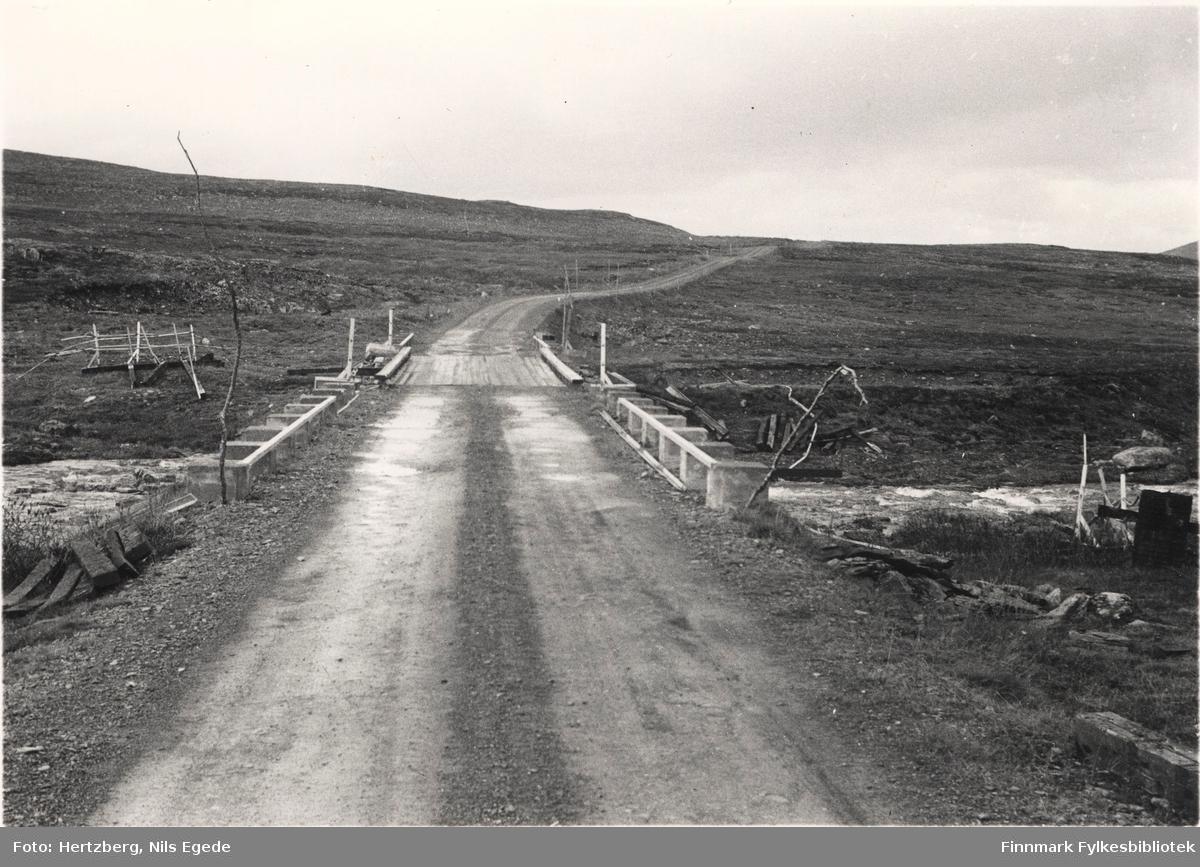Grusveien og provisorisk bru over Storelva på Ifjordfjellet, 1946.