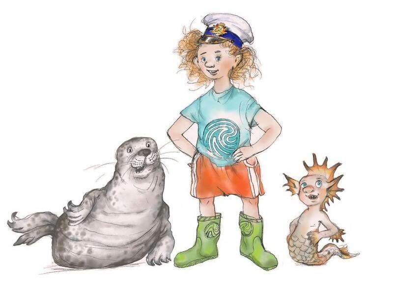 Tegning av en grå sel, en jente med støvler, t-skjorte, shorts, stort bustete hår og kapteinslue og en marmæle, en marmælen er en havmann, og mest av alt lignet han på en litt stor gutt, men med fiskehale. (Foto/Photo)