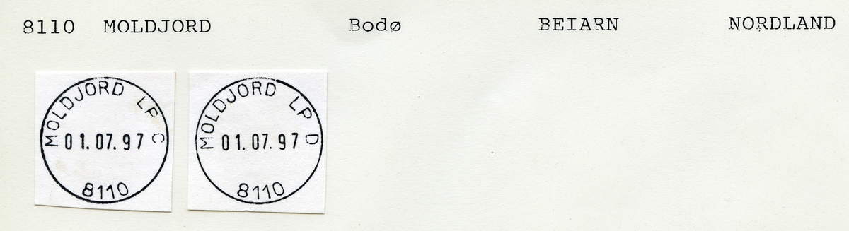 Stempelkatalog  8110 Moldjord, Beiarn kommune, Nordland (Beieren, Beiarn)