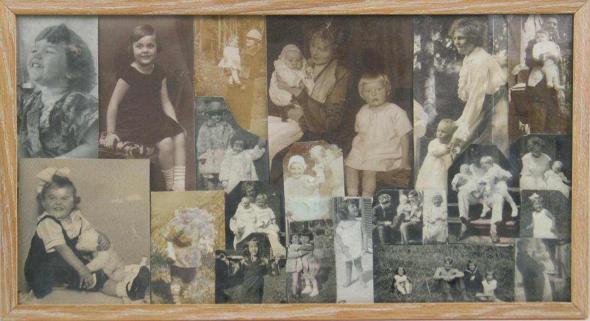 Flere barnebilder satt sammen i en lys treramme. Navnene skrevet på baksiden.
