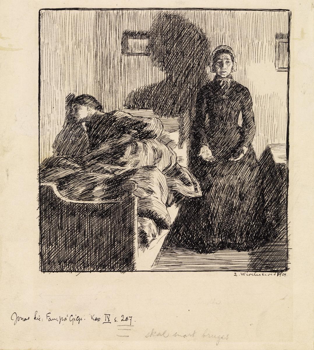 """Illustrasjon til Jonas Lie """"Familien på Gilje"""", København 1903 [-1904] [Illustrasjon]"""