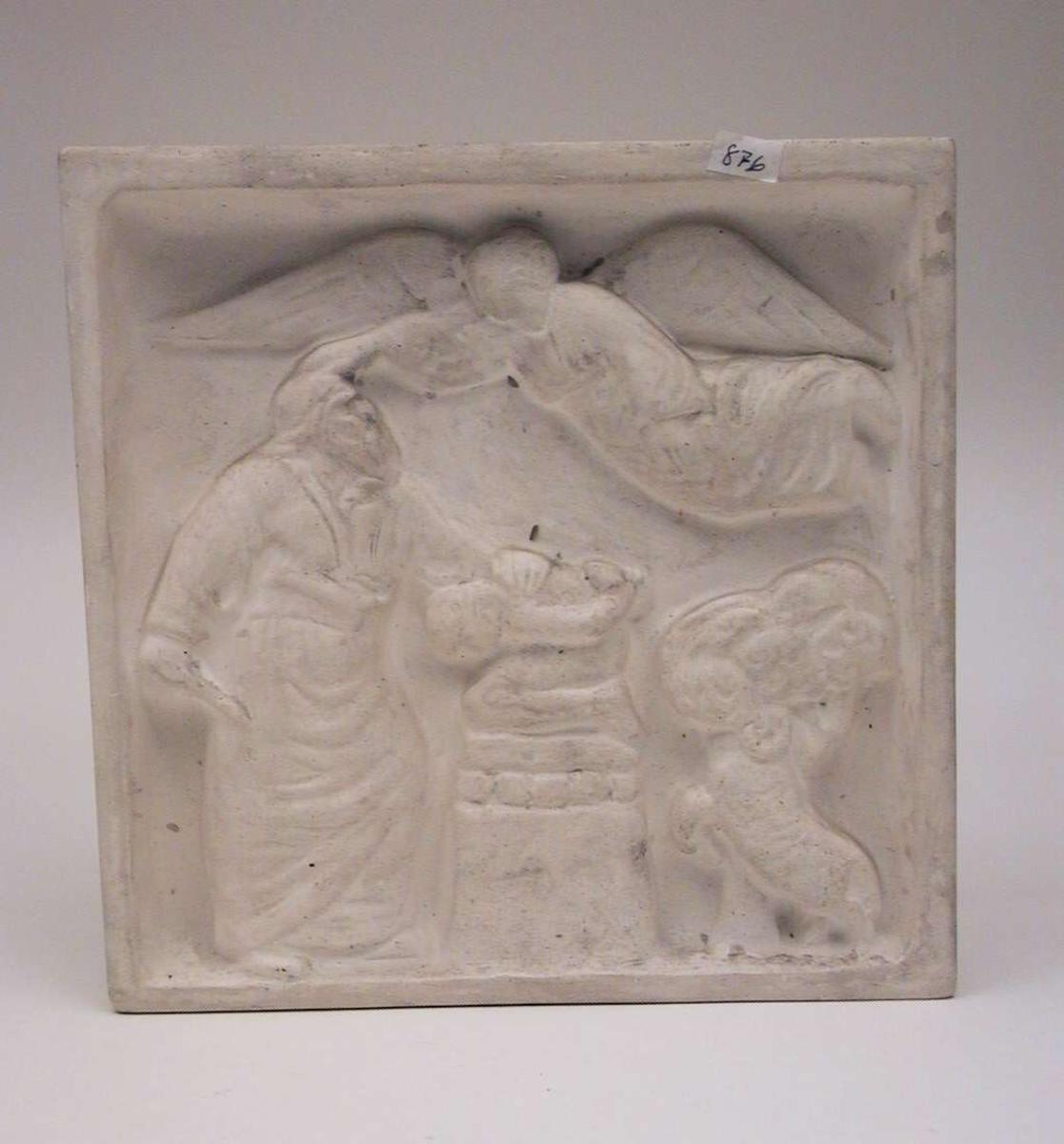Gipsrelieff med bibelsk motiv. Relieffet er kvadratisk. Det er hvitt.