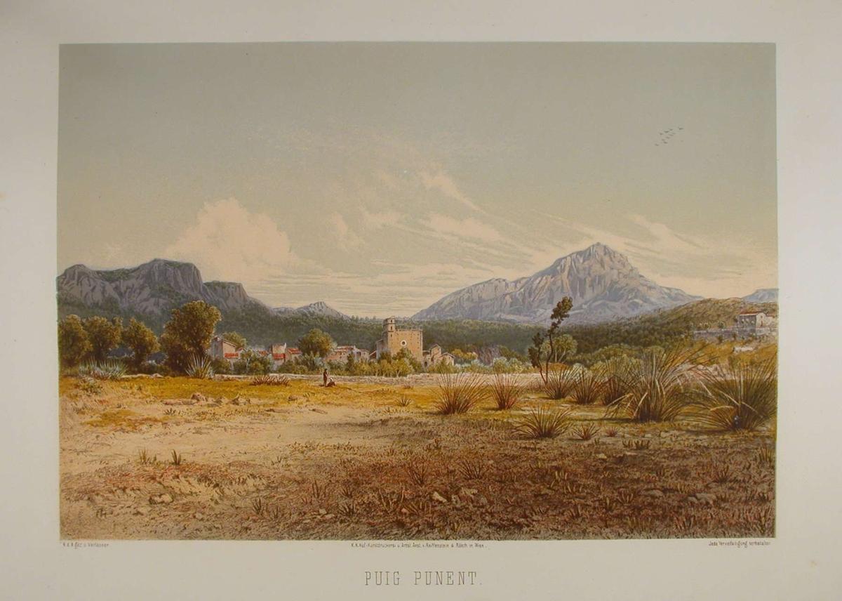 Landsby med fjell i bakgrunnen