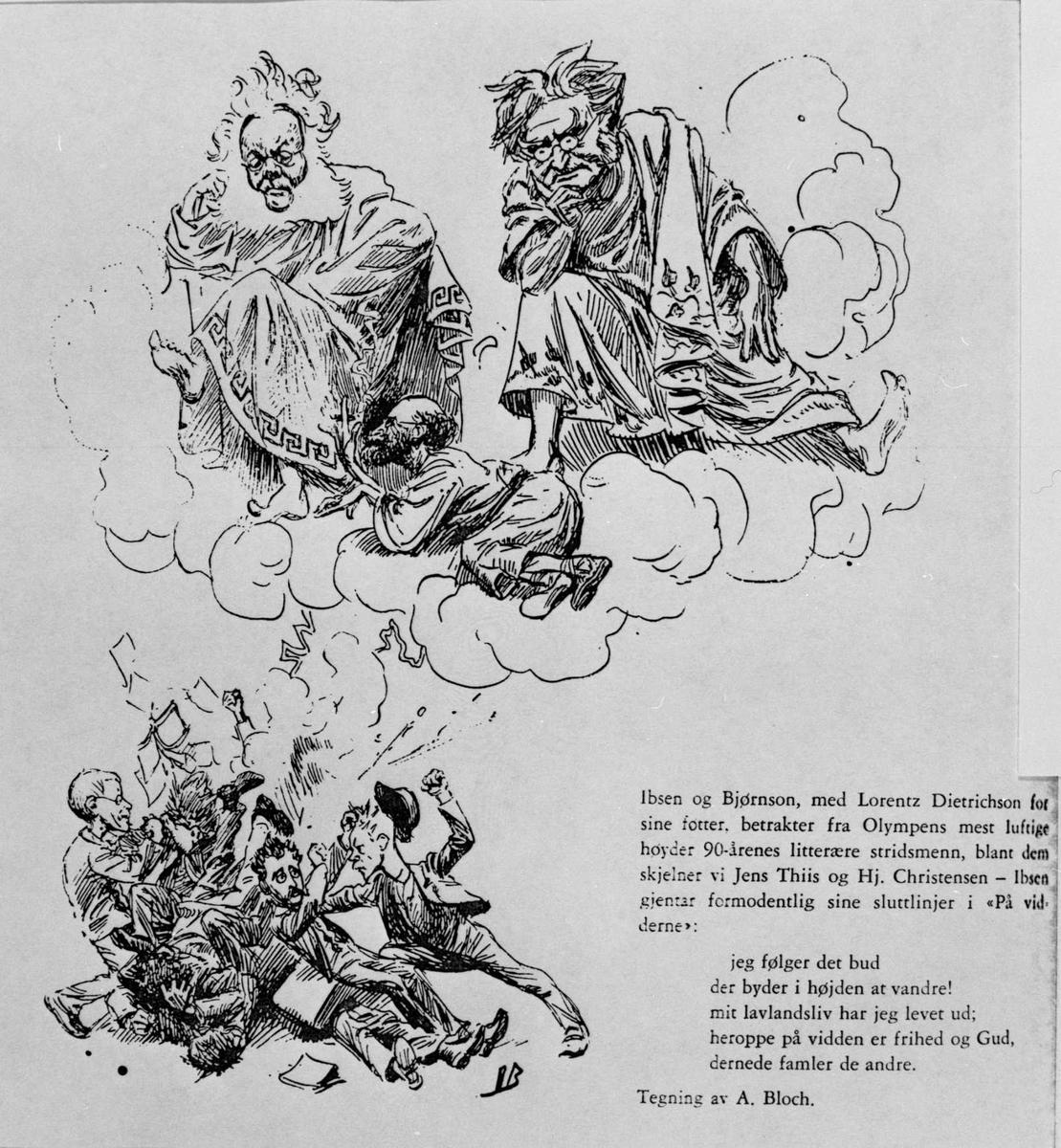 Karikatur, Ibsen, Bjørnson, Dietrichson,