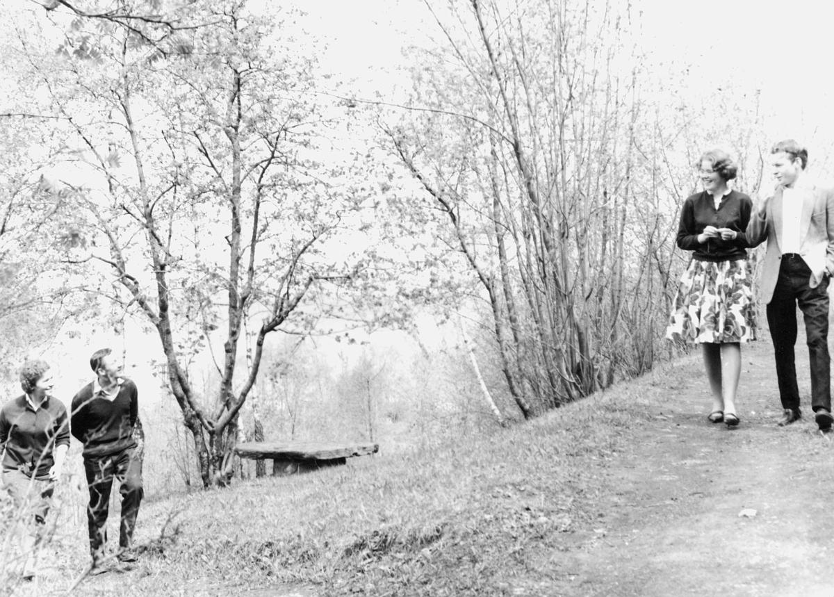 postskolen, 2 par, går tur, eksteriør