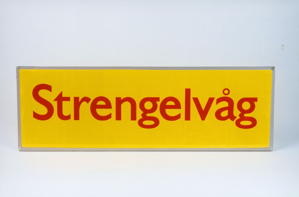 Postmuseet, gjenstander, skilt, stedskilt, stedsnavn, Strengelvåg.