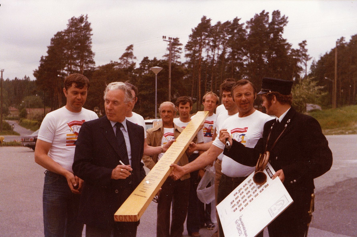 markedsseksjonen, filateli, bygningsarbeiderdagene'79, 1600 Fredrikstad, postuniform, posthorn, menn, eksteriør