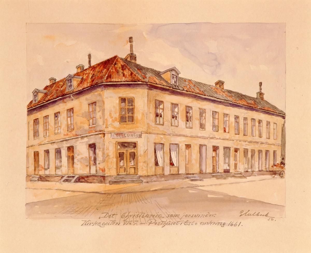 """postmuseet, kunst, akvareller, G. Kulbeck: """"Det Christiania som forsvinder, Kirkegaten no. 7"""", eksteriør, Posthuset i Oslo omkring 1661, motivet finnes også på CD-rom PRO1, bilde nr 88"""