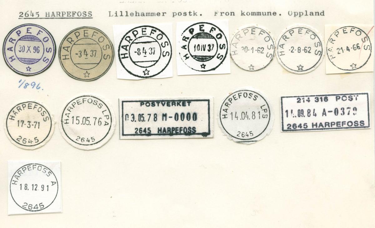 Stempelkatalog 2645 Harpefoss, Lillehammer, Sør-Fron, Oppland