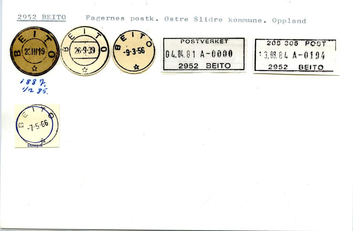 Stempelkatalog 2952 Beito. Fagernes postkontor. Østre Slidre kommune. Oppland fylke.