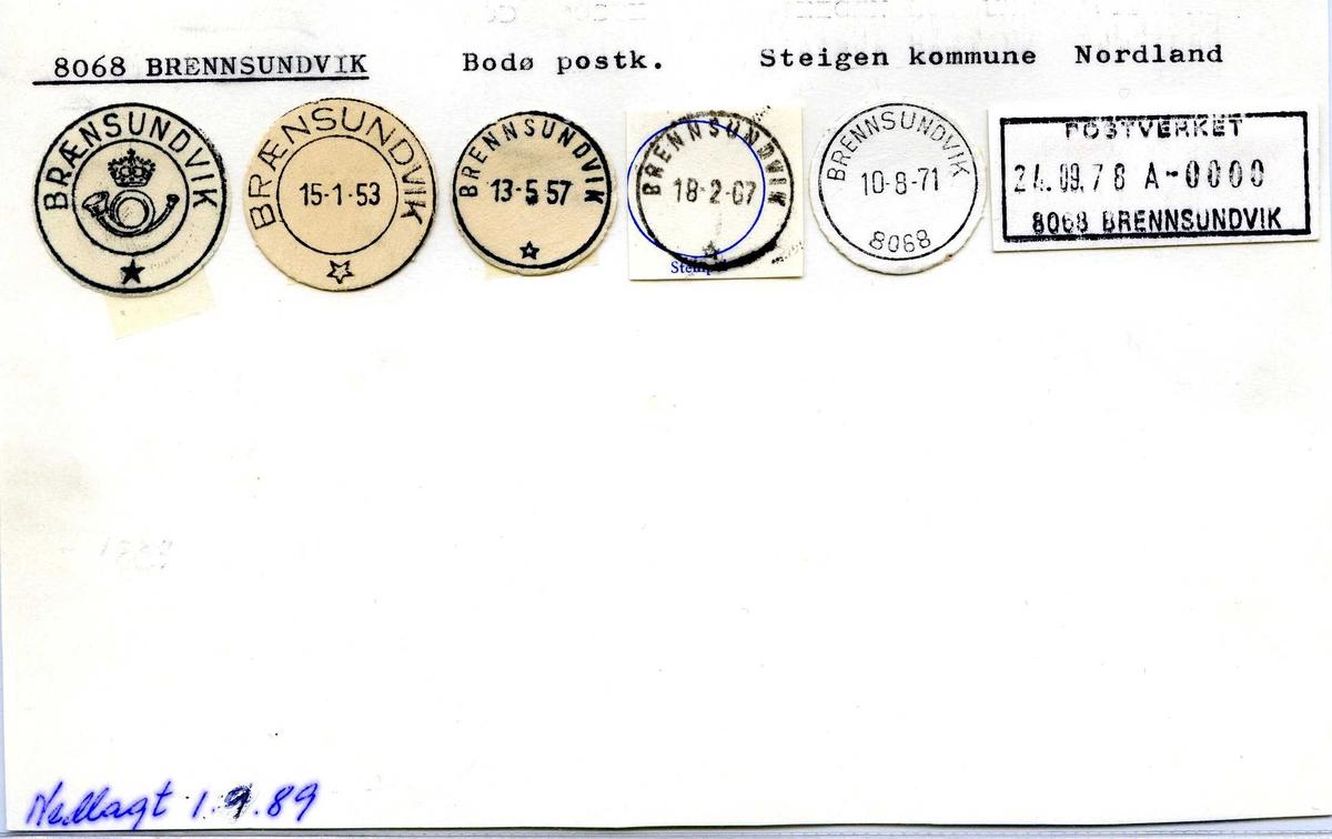 Stempelkatalog, 8068 Brennsundvik, (Brænsundvik), Steigen, Nordland