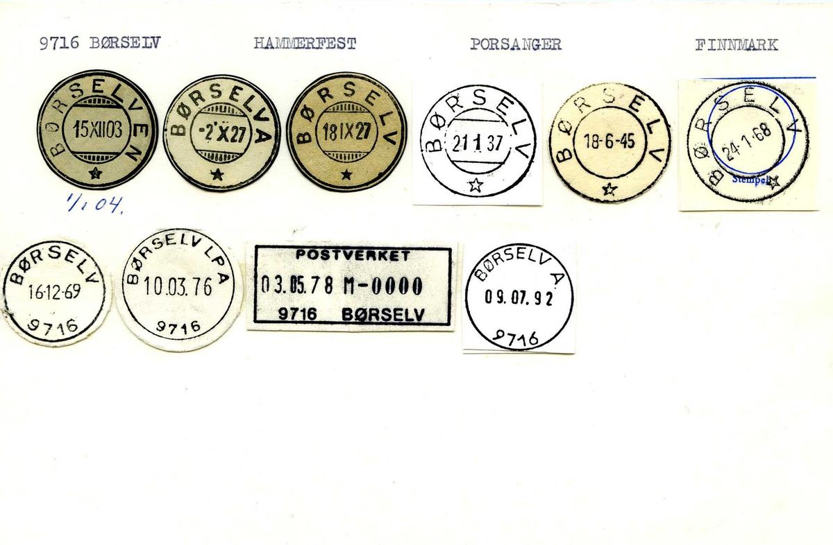 Stempelkatalog, Børselven. Børselva. 9716 Børselv. Hammerfest postkontor. Porsanger kommune. Finnmark fylke.