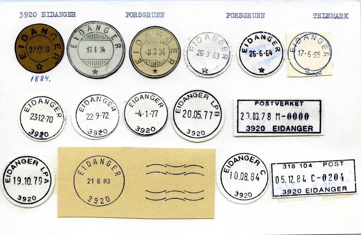 Stempelkatalog, 3945 Eidanger, Porsgrunn,Telemark