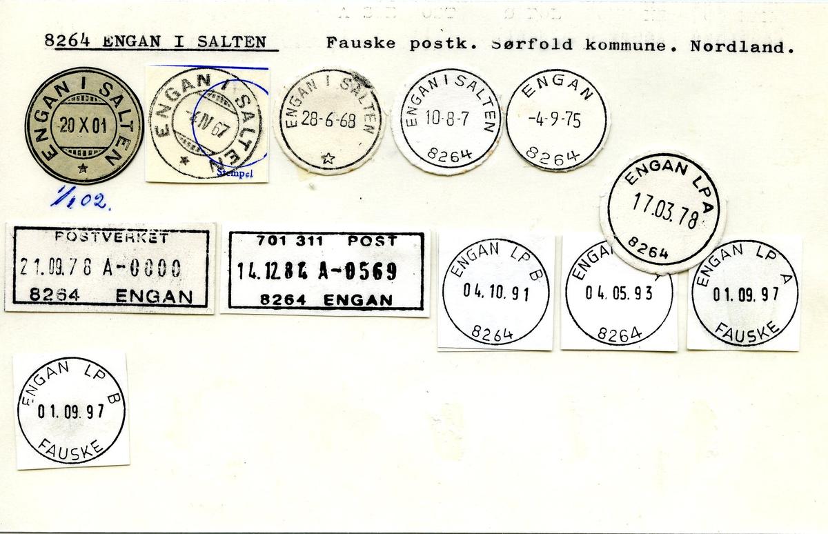 Stempelkatalog,8264 Engan i Salten, Fauske postk., Sørfold komm., Nordland