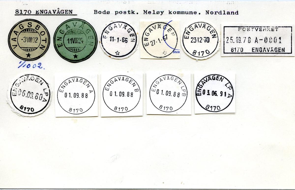 Stempelkatalog. 8170 Engavågen. Bodø postkontor. Meløy kommune. Nordland fylke.