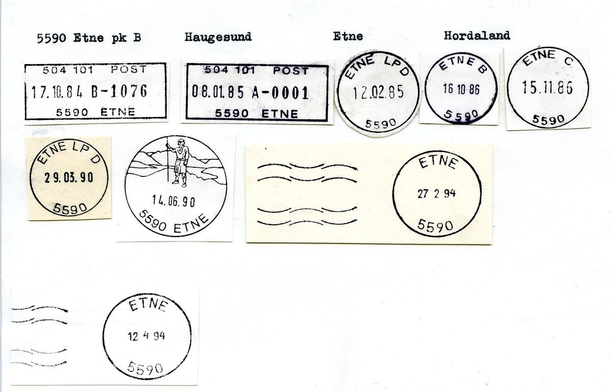 Stempelkatalog. 5590 Etne. Haugesund postkontor. Etne kommune. Hordaland fylke. (Speiderleiren Etne 1930).