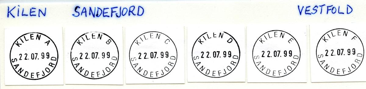 Stempelkatalog Kilen, Sandefjord kommune, Vestfold