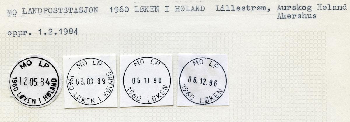 Stempelkatalog Mo landpoststasjon, 1960 Løken i Høland, Aurskog kommune, Akershus