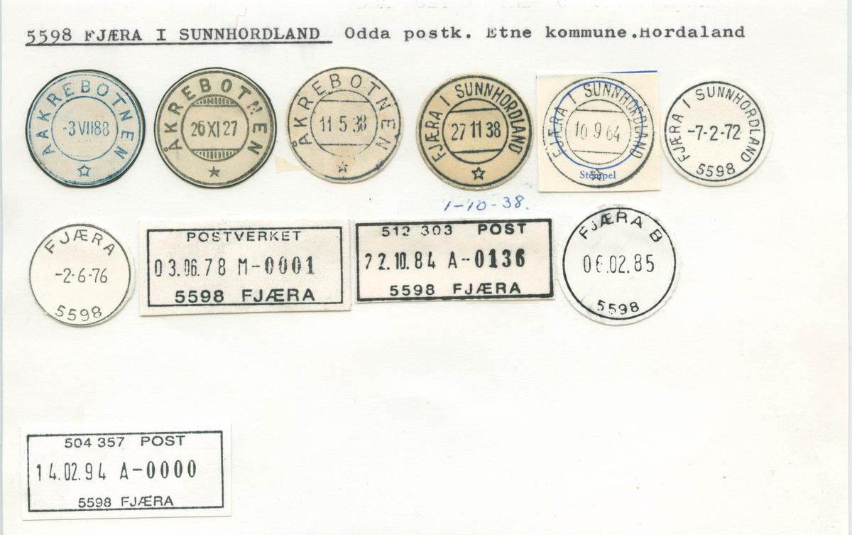 Stempelkatalog, 5598 Fjæra i Sunnhordland, Odda, Etne, Hordaland