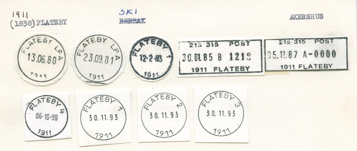 Stempelkatalog, 1838 Flateby,, Enebakk, Akershus