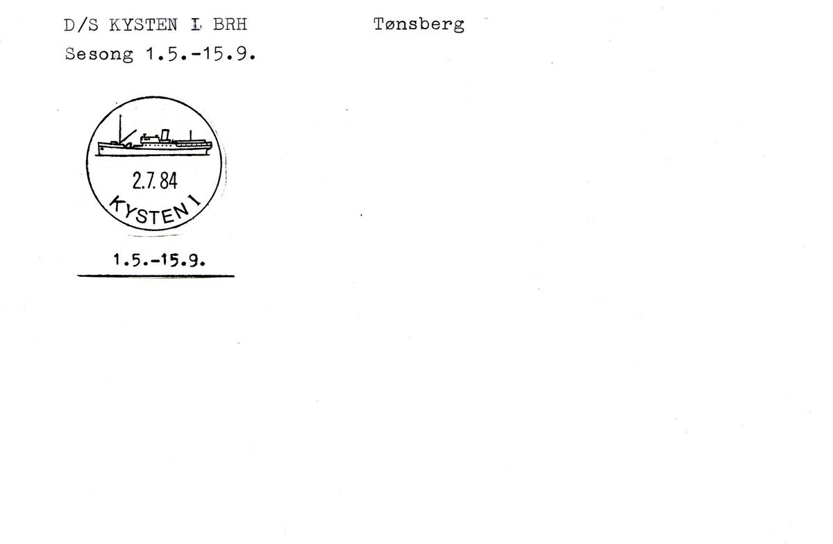 "Stempelkatalog. Ambulerende brevhus båt, D/S ""Kysten"". Tønsberg."