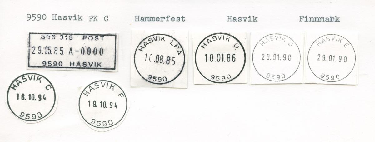Stempelkatalog, 9590 Hasvik, Hammerfest postk., Hasvik komm,Finnmark