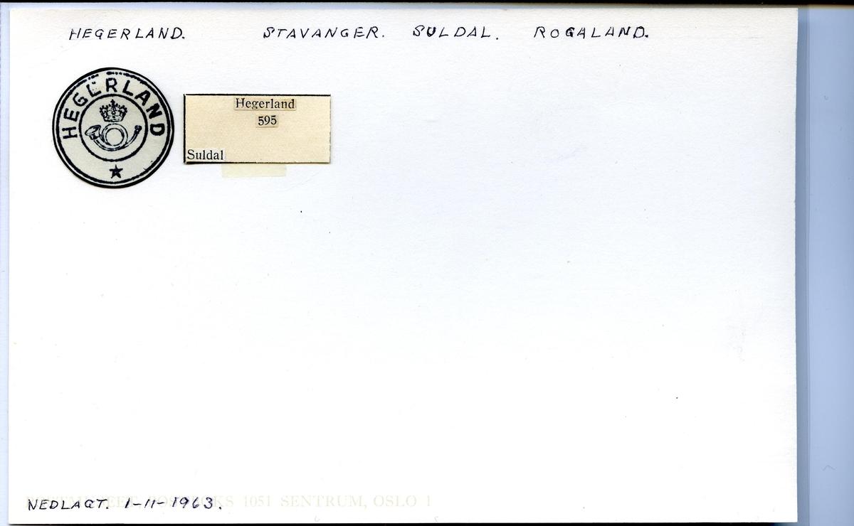 Stempelkatalog. Hegerland. Stavanger postkontor. Suldal kommune. Rogaland fylke.