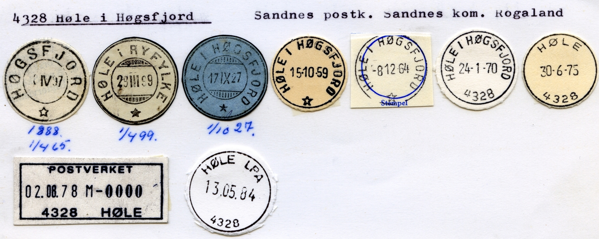 Stempelkatalog 4328 Høle i Høgsfjord (Høgsfjord, Høle i Ryfylke), Sandnes, Rogaland