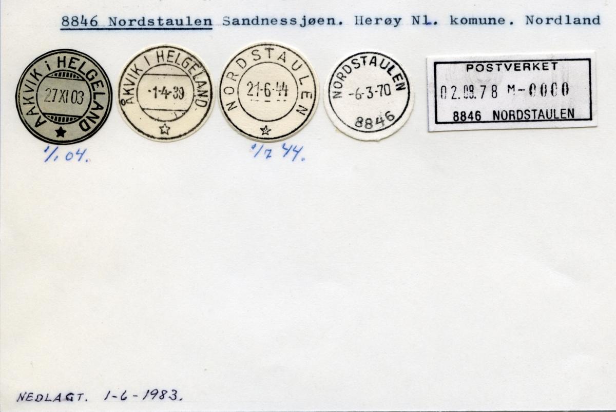 Stempelkatalog 8846 Nordstaulen (Aakvik i Helgeland, Åkvik i Helgeland), Sandnessjøen, Herøy, Nordland