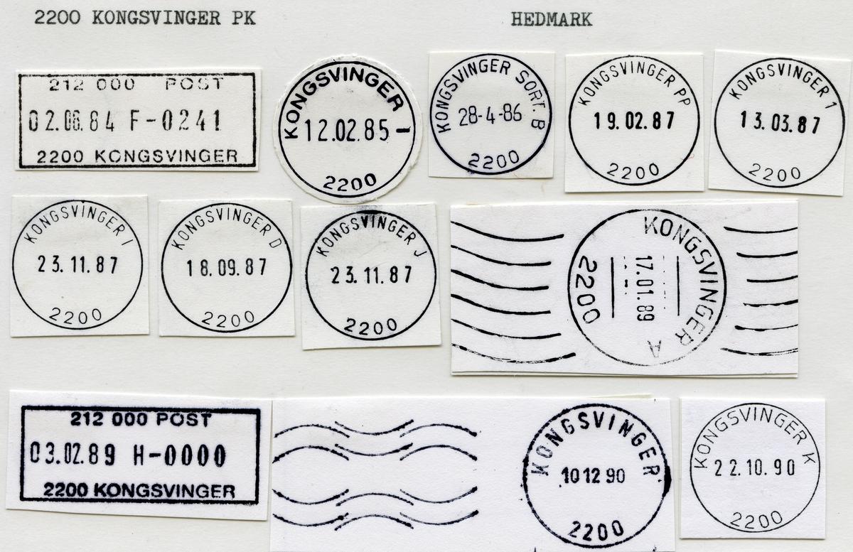 Stempelkatalog 2200 Kongsvinger, Hedmark