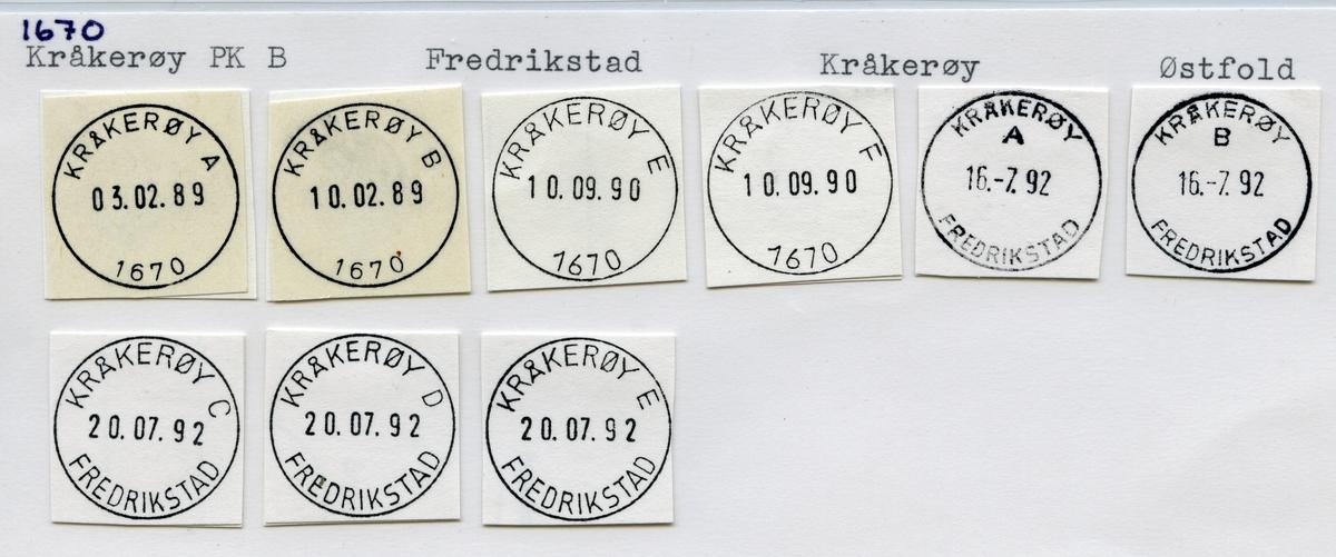 Stempelkatalog  1670 Kråkerøy, Fredrikstad, Kråkerøy, Østfold