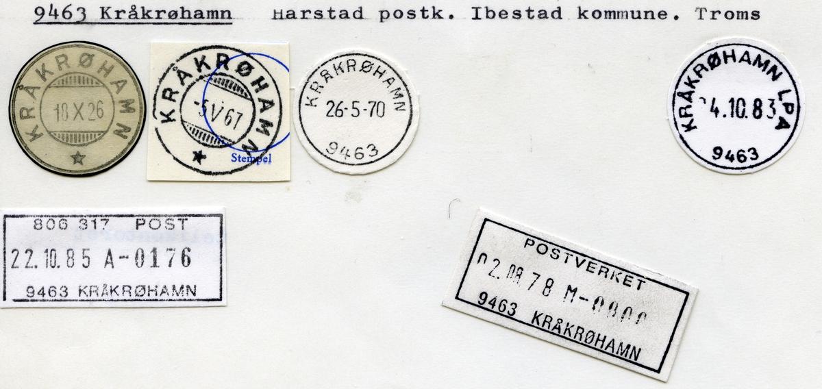 Stempelkatalog 9463 Kråkrøhamn, Harstad postk., Ibestad kommune, Troms