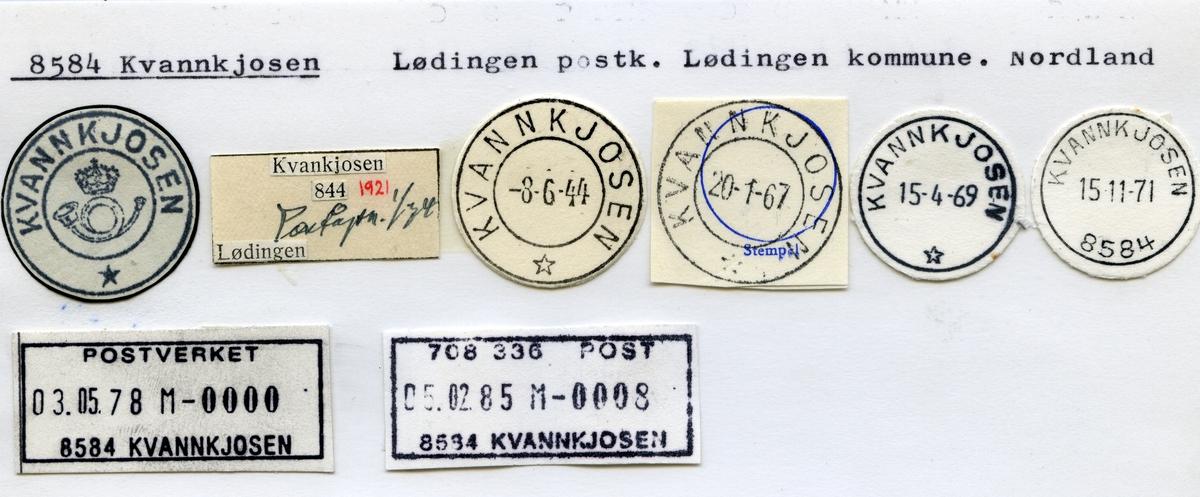 Stempelkatalog 8584 Kvannkjosen (Kvankjosen), Lødingen, Nordland