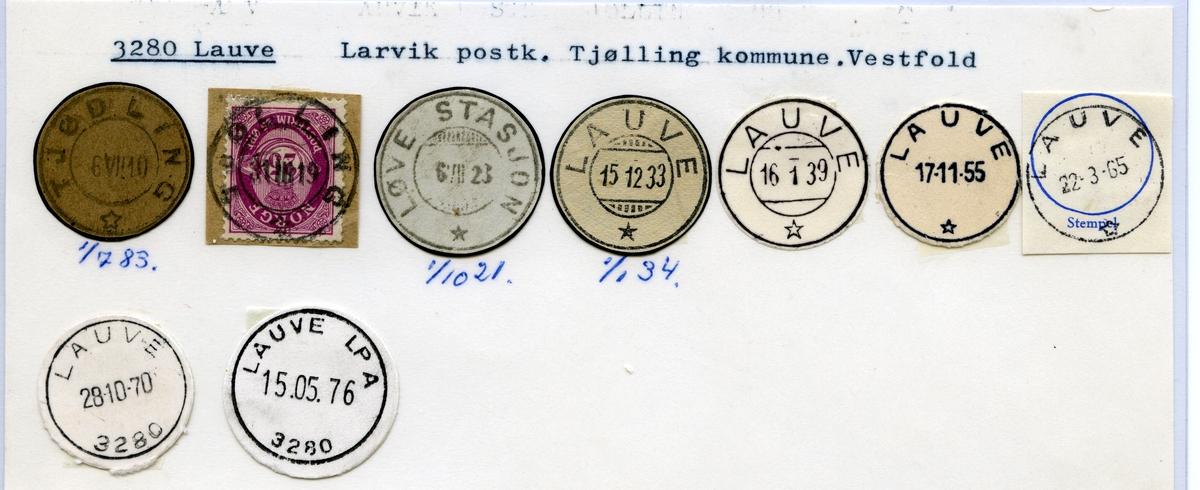 Stempelkatalog 3280 Lauve (Tjødling, Løve stasjon), Larvik, Tjølling, VestfoldLauvdal i Setesdal (Lauvdal i Sætersdalen), Kristiansand, Bygland, Aust-Agder