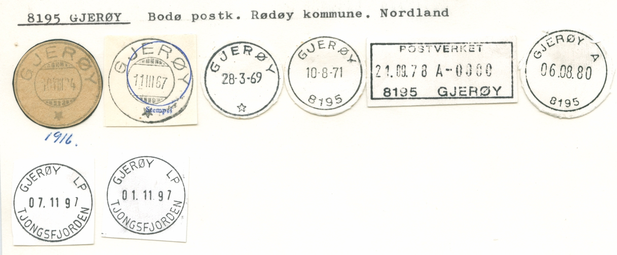 Stempelkatalog 8195 Gjerøy, Bodø, Rødøy, Nordland